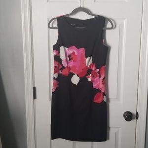AB Studio Black and Floral  Midi Dress